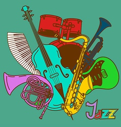Background with musical instruments vector