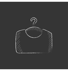 Sweater on hanger drawn in chalk icon vector