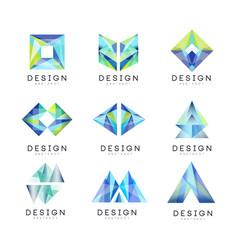 Abstract logo design set gem geometric badge vector