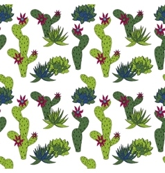 Abstract seamless pattern with cactus vector