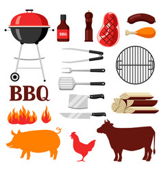 Bbq set of grill objects and icons vector