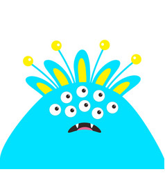 Blue monster head with ears fang tooth and horns vector