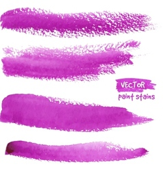 Bright violet watercolor paint strokes vector