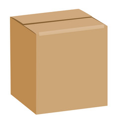 brown sealed square box mockup realistic style vector image