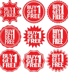 Buy 1 get 1 free red label buy 1 get 1 free red vector