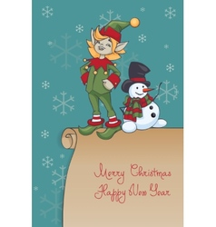 Christmas santa elf design vector