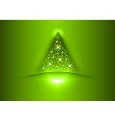 christmas tree star green vector image vector image