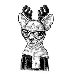 Dog deer with glasses scarf horns coat vintage vector