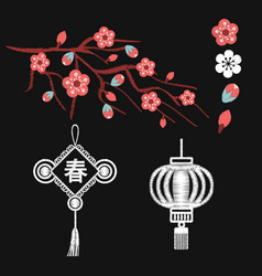 Embroidery blossoms branch of cherry sakura tree vector