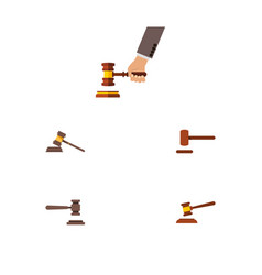 Flat icon court set of court legal crime and vector