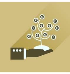 Flat icon with long shadow money tree hand vector