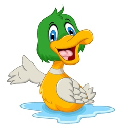 Funny baby duck cartoon posing vector