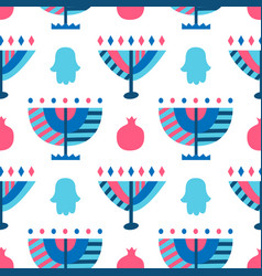 Hanukkah menorah abstract seamless pattern vector