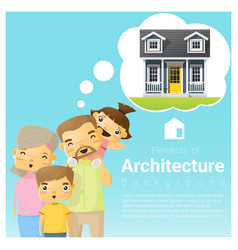 Happy family and dream house background vector
