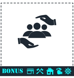 Helping hands icon flat vector