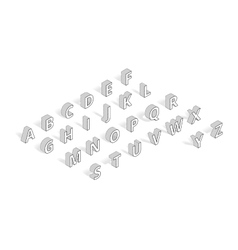 Isometric font alphabet line art vector image