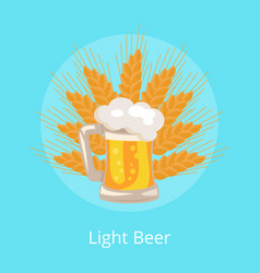 Light beer traditional glass with foam and bbubble vector