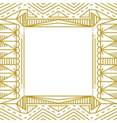 Linear simple frame with gold lines vector