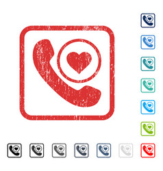Love phone call icon rubber watermark vector