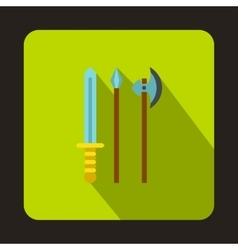 Medieval weapons icon flat style vector image vector image