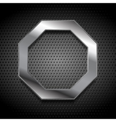 Metal octagon logo on perforated background vector