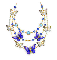 necklace with sapphire butterflies vector image vector image