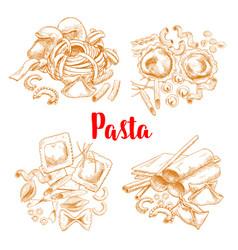 pasta or italian macaroni sketch poster vector image vector image