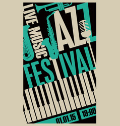 poster for jazz festival with music instruments vector image vector image