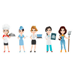 Professions set of female cartoon characters chef vector
