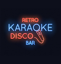 retro disco karaoke bar neon light sign vector image