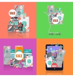 Sale in Electronics Store Concepts Set vector image vector image