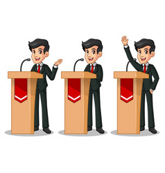 set of businessman in black suit giving a speech vector image vector image
