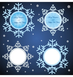 Set of four frames as snowflakes vector
