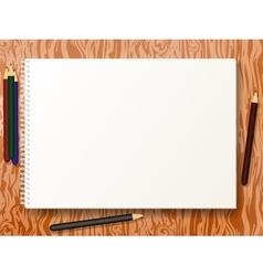 sketch pad with pencils vector image vector image