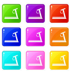 Treadmill icons 9 set vector