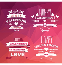 Valentines Day set of symbolsTypography vector image vector image
