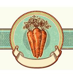 Vintage label with carrots background vector image