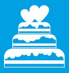 Wedding cake icon white vector