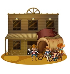 Western people outside the wagon vector image