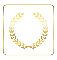 Gold laurel wreath symbol vector