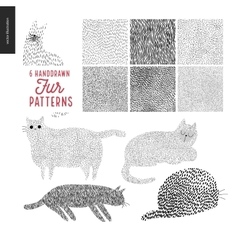Handdrawn patterns with cats vector
