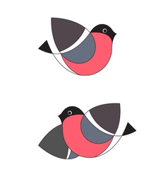 Set of two original stylized bullfinches vector