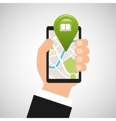 Hand holds phone navigation app library vector