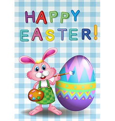 A happy easter card with a bunny and an egg vector