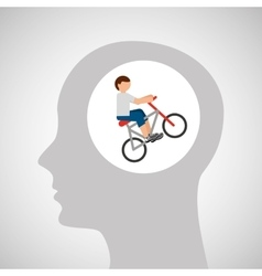 Head silhouette cyclist extreme sport vector