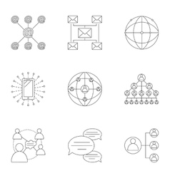 Global network icons set outline style vector
