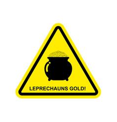 Attention leprechaun gold pot of golden coins on vector