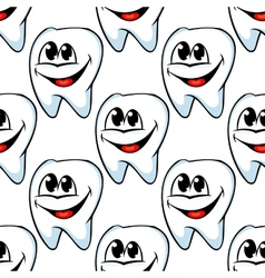Repeat pattern of happy healthy teeth vector