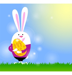 Spring background with bunny and easter egg vector