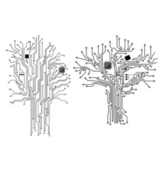 Computer tree with chip and motherboard vector image